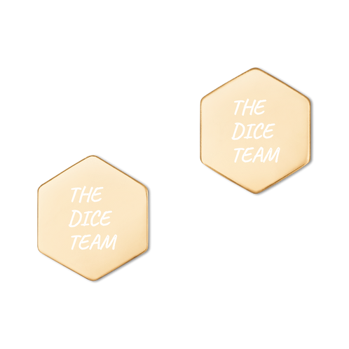 THE DICE TEAM Sterling Silver Hexagon Stud Earrings