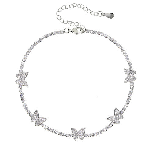 Ice Girl Leg Chain 5A CZ Tennis Chain Butterfly Charm Summer Foot Anklet
