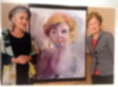 """Sonja Barend and her portrait by Clare van Stolk at """"Sterren op het doek"""""""