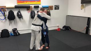 Receiving my blue belt