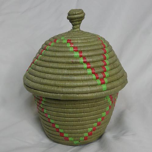 Pink & Green Handwoven Basket From Uganda