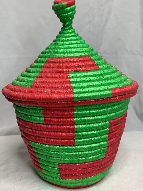 Red and Green Handwoven Basket From Uganda
