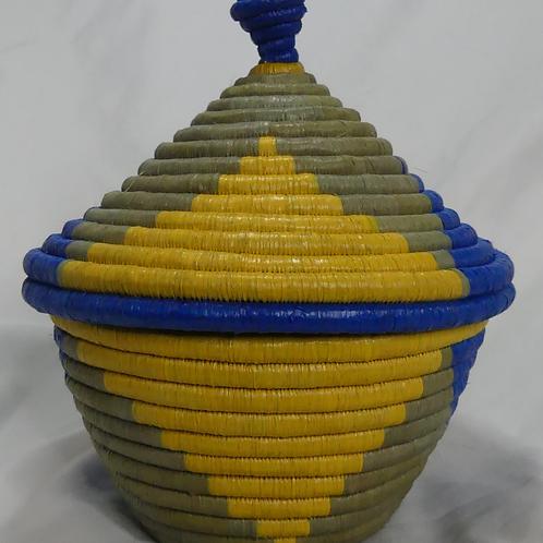 Blue & Yellow Handwoven Basket From Uganda