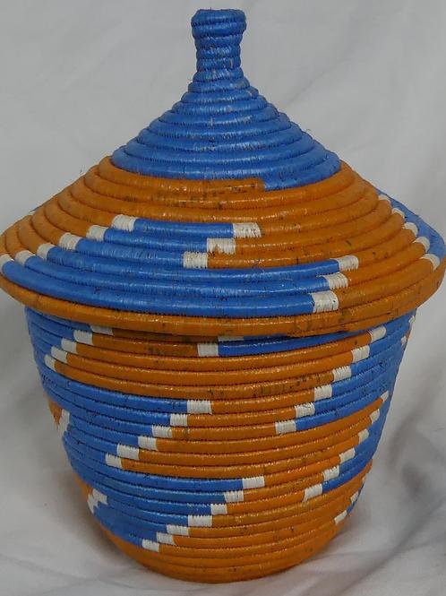 Orange, Blue & White Handwoven Basket From Uganda