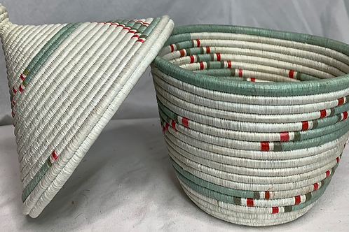 White, Blue, Pink, and Beige Handwoven Basket From Uganda
