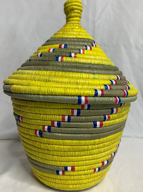 Yellow, Red, White, Blue, Beige Handwoven Basket From Uganda