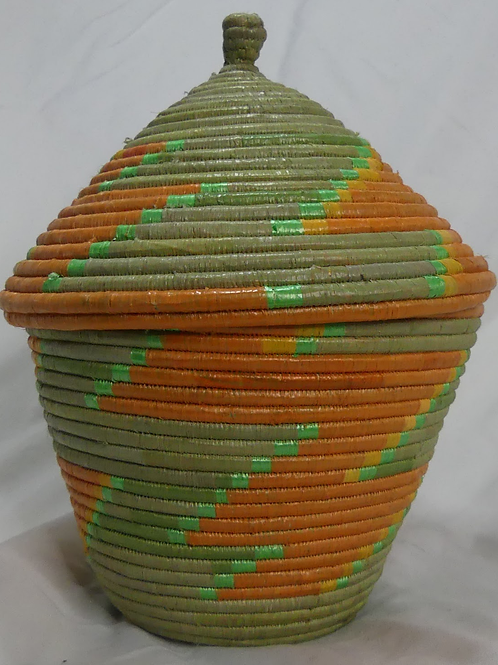 Green & Orange Handwoven Basket From Uganda
