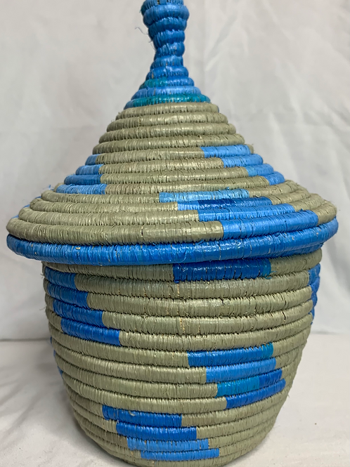 Blue and Grey Handwoven Basket From Uganda