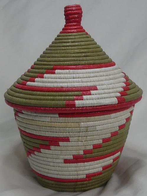 Pink & White Handwoven Basket From Uganda