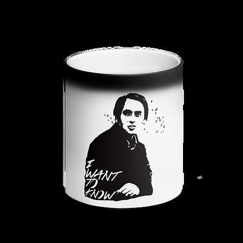 Carl Sagan I Want To Know Matte Black Magic Mug