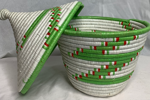 Green, Red and White Handwoven Basket From Uganda