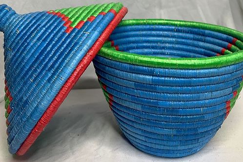 Blue, Green, and Red Handwoven Basket From Uganda