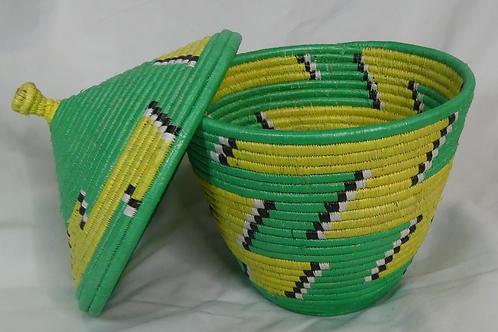 Green & Yellow Handwoven Basket From Uganda