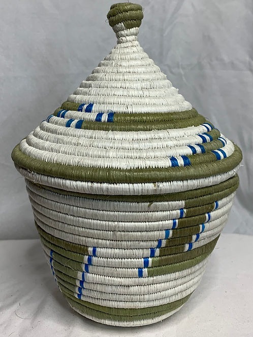 Blue, White, and Beige Handwoven Basket From Uganda