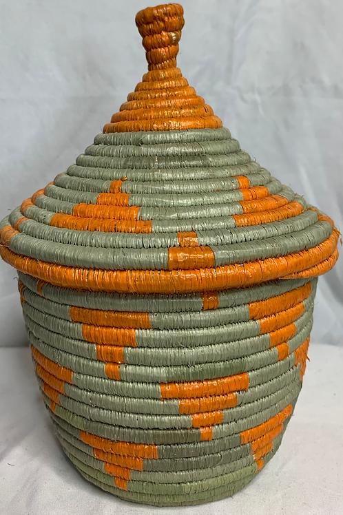 Orange and Beige Handwoven Basket From Uganda