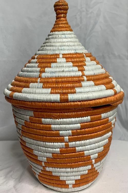 White and Orange Handwoven Basket From Uganda