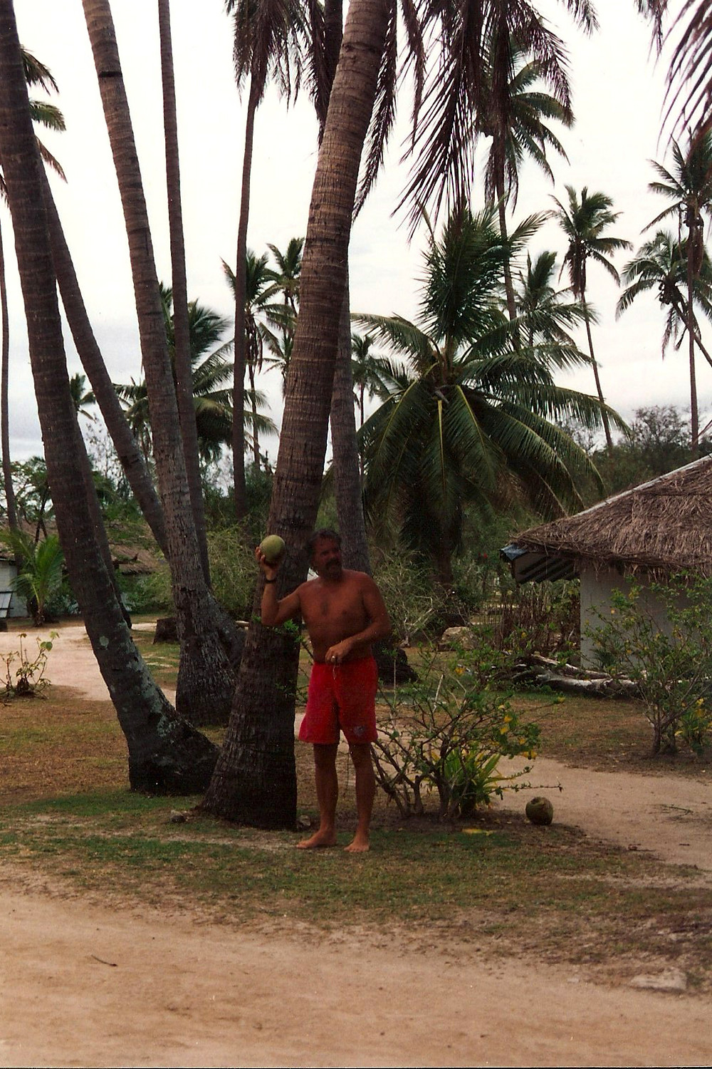 My dad with a coconut.