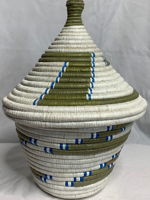 White, Blue and Beige Handwoven Basket From Uganda