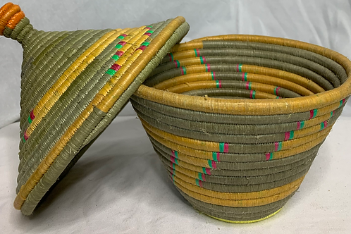 Yellow, Beige, Pink, Green, and Orange Handwoven Basket From Uganda