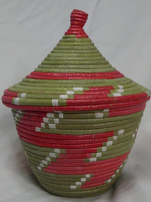 Pink & White Handwoven Basket From Uganda