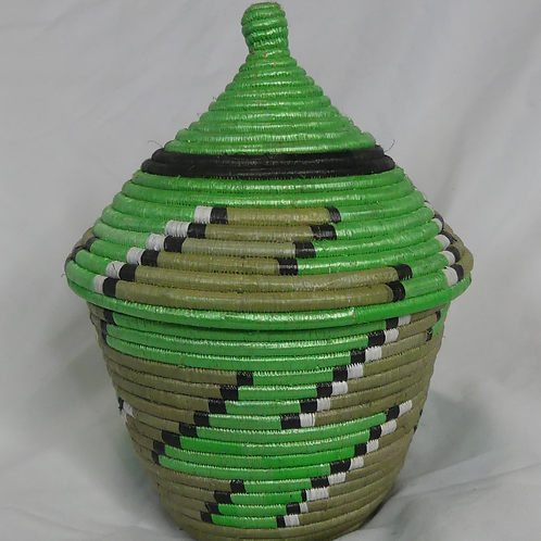Green & White Handwoven Basket From Uganda