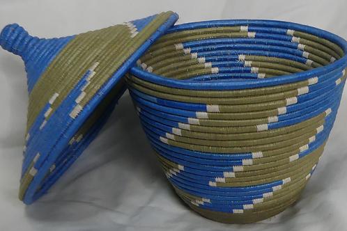 Blue & White Handwoven Basket From Uganda