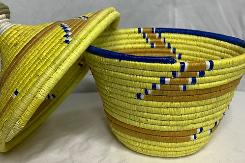 Yellow, Tan, Blue, and White Handwoven Basket From Uganda