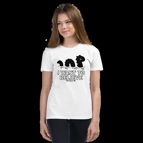 Ogopogo I want To Believe Black Logo Youth Short Sleeve T-Shirt