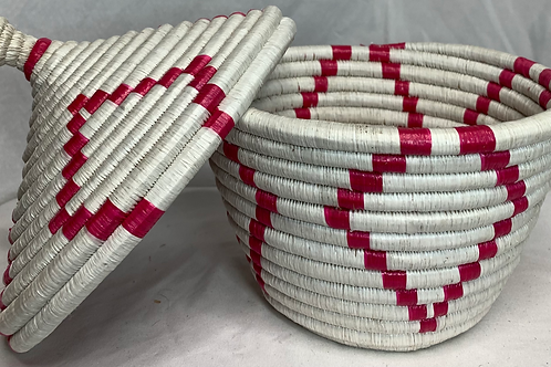 White and Pink Handwoven Basket From Uganda