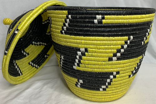 Yellow, Black, and White Handwoven Basket From Uganda
