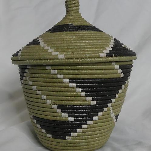 Black & White Handwoven Basket From Uganda