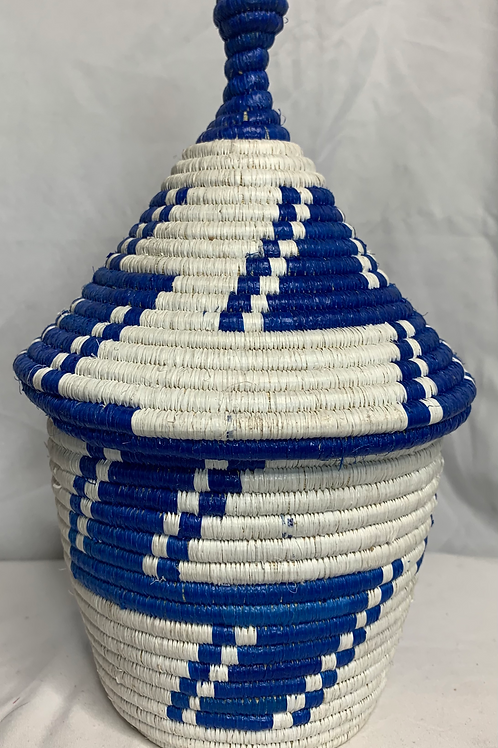 Blue and White Handwoven Basket from Uganda