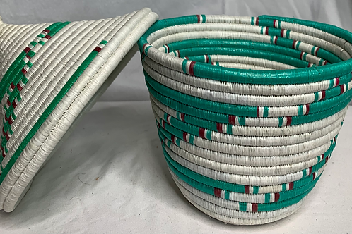 Blue, Red, White, and Turquoise Handwoven Basket from Uganda
