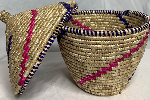 Pink, Purple, and Natural Handwoven Basket From Uganda