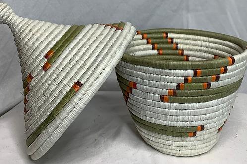 White, Beige, Orange, and Red Handwoven Basket From Uganda