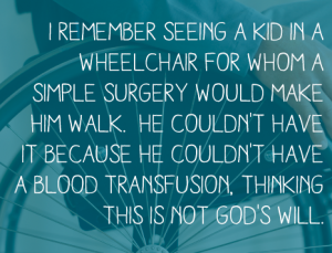 Jehovah's Witness in a wheelchair