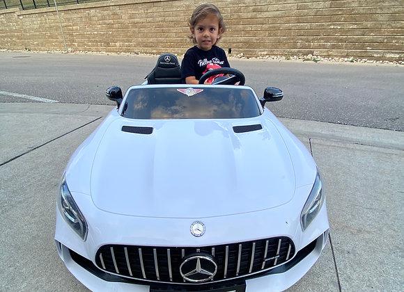 12V White Mercedes GTR AMG 2 Seater Electric Ride On Car For Kids