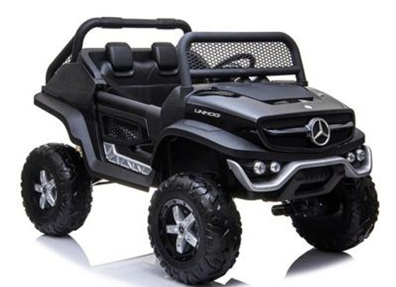Black Mercedes Benz Unimog (with built in TV) Electric Ride On For Kids