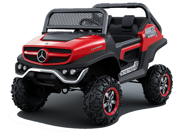 Red Mercedes Benz Unimog (with built in TV) Electric Ride On For Kids