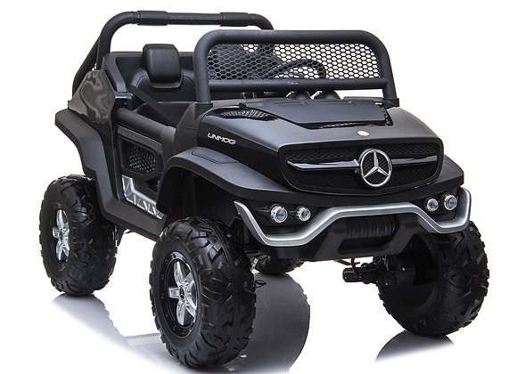 PRE ORDER 12V Black Mercedes Benz Unimog 2 Seater Electric Ride On For Kids