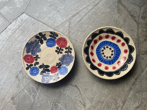 絵柄の平皿 ネイビー/ブラック/フラワー/ブーケ