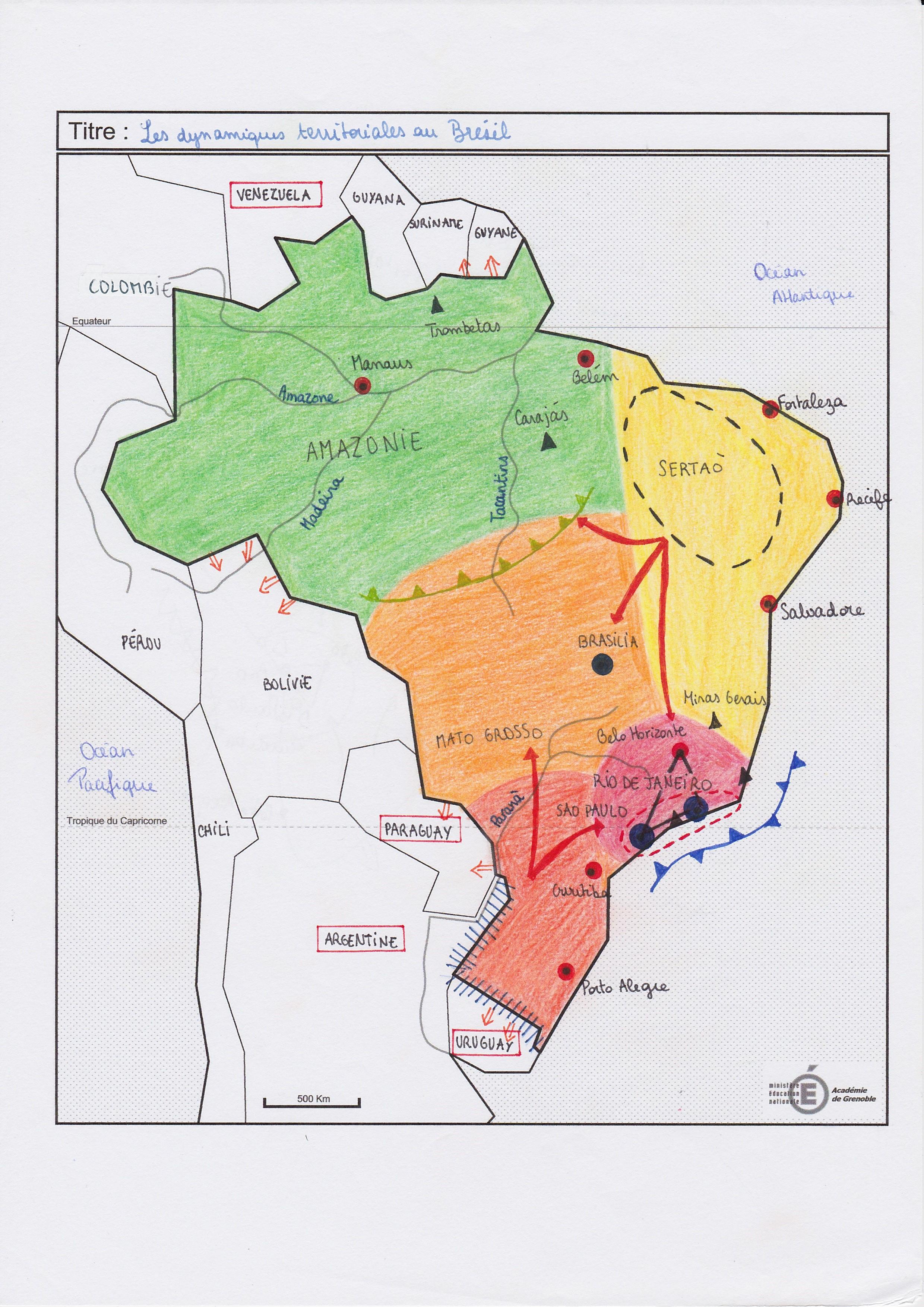 carte bresil terminale s Croquis: Les dynamiques territoriales du Brésil