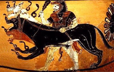 Cerbère enchaîné par Héraclès