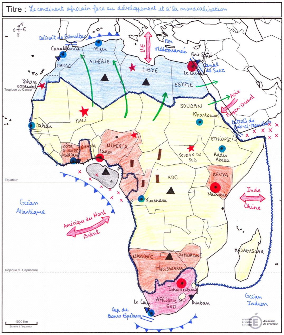 Carte Afrique Bac.Croquis Le Continent Africain Contrastes De Developpement
