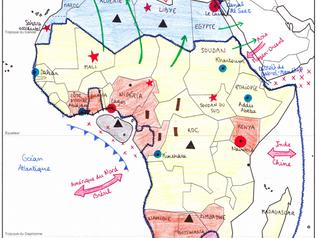"""Croquis: """"Le continent africain, contrastes de développement et inégale intégration dans la mon"""