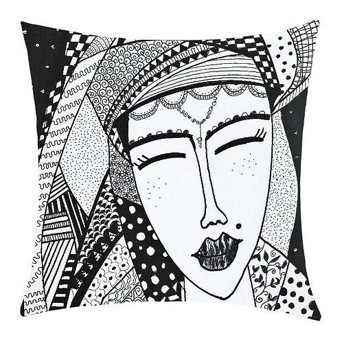 """Pretty Doodle""Printed Art Cushion"