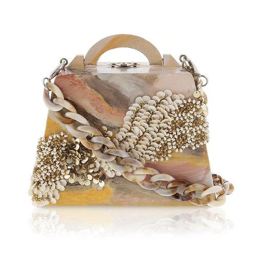AMBER TWIST Wooden Clutch / Cross-Body Bag