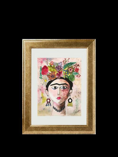 Frida Kahlo Watercolor Painting
