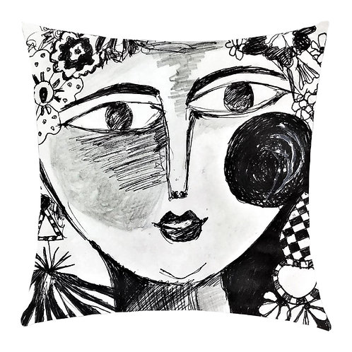 """Frida in Black and White"" Printed Art Cushion"