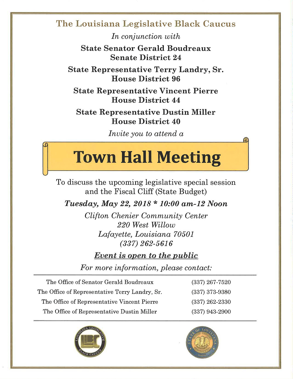 The Louisiana Legislative Black Caucus Schedules a Town Hall Meeting